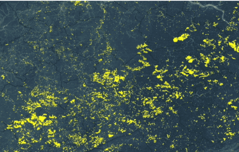 This shows the expansion of surface mining's footprint (displayed in yellow) from 1985 to 2015 for 31,000 square kilometer sub-region of the study area in West Virginia and Kentucky.