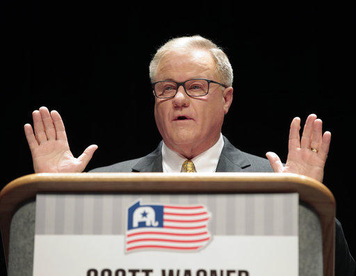 Scott Wagner, Republican gubernatorial nominee in Pennsylvania, answers questions from a panel during a debate between Republican Gubernatorial candidates on Thursday, March 1, 2018.