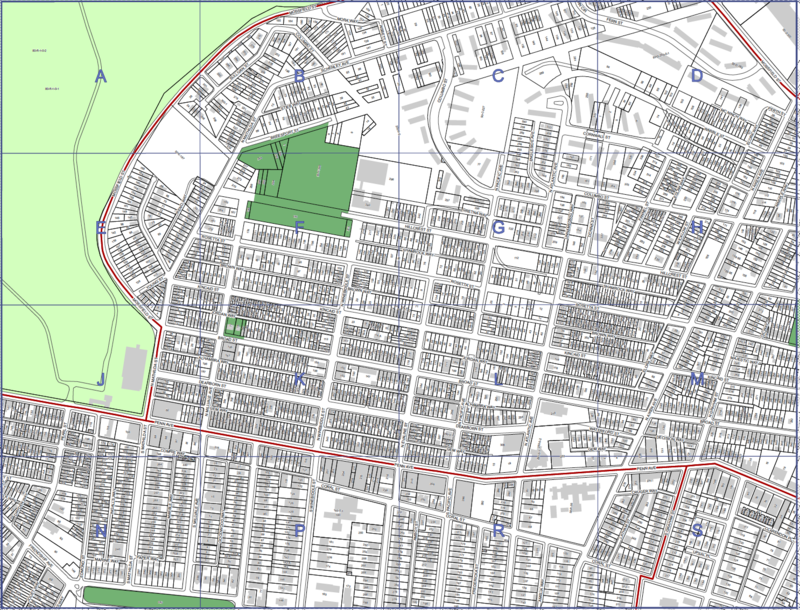 A map of part of the city's lot and block plan for Garfield. City Council is considering legislation that would launch a two-year housing pilot there.