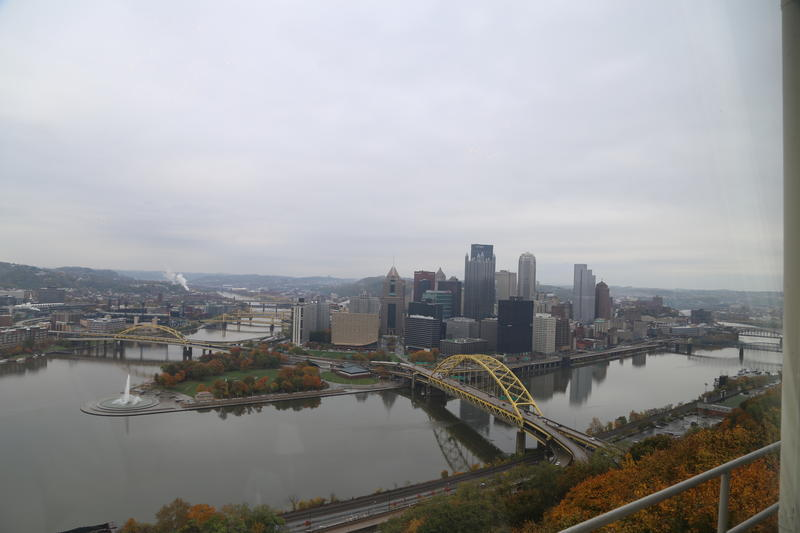The city of Pittsburgh on a cloud day, taken from an overlook on Mt. Washington.