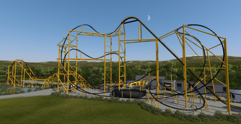 """An artist rendering of the future """"Steel Curtain"""" roller coaster at Kennywood."""