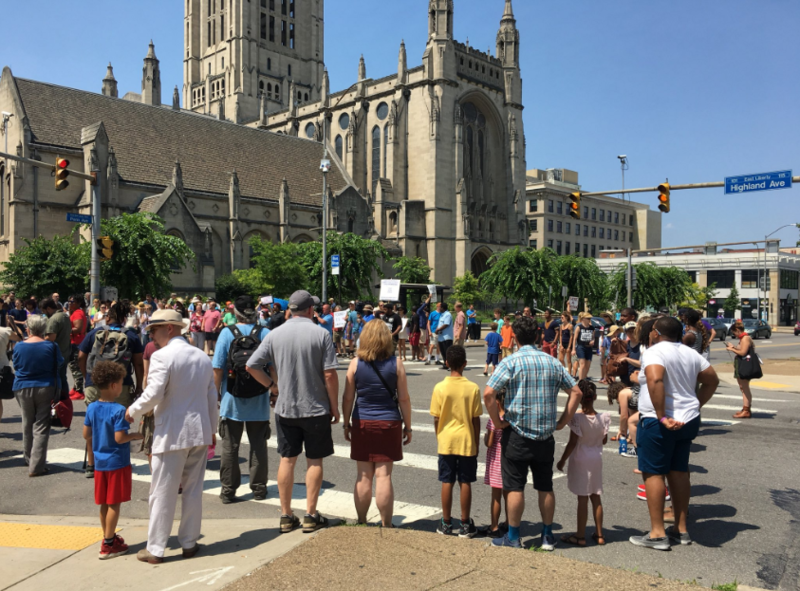Demonstrators gather in East Liberty to call for justice for Antwon Rose on Sunday, July 1, 2018.