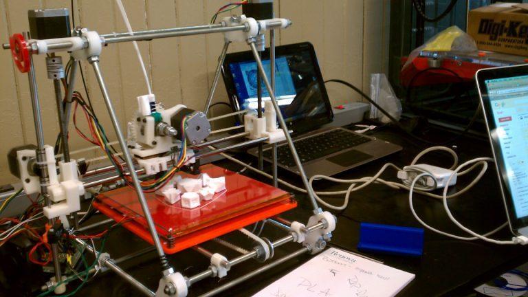 A 3D printer at work in Philadelphia's NextFab studios.
