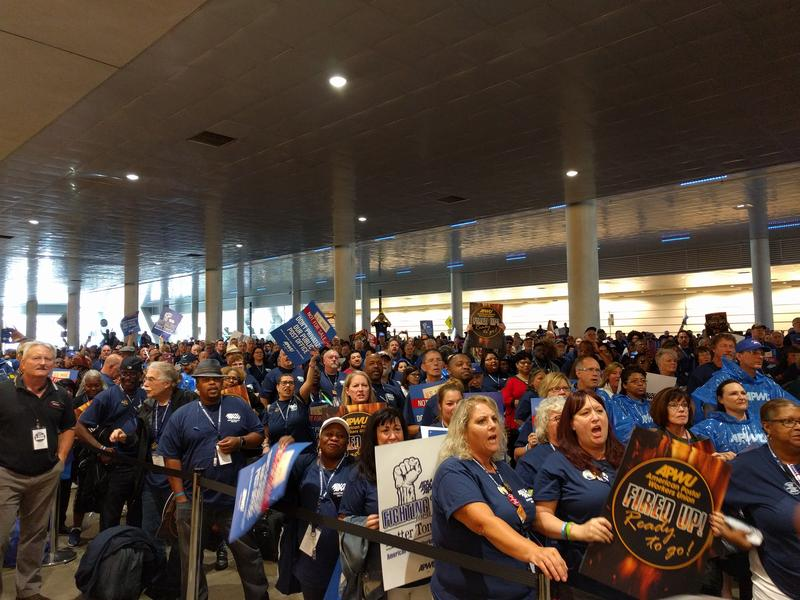 Postal workers organize outside the David L. Lawrence Convention Center on Tuesday, August 21, 2018.