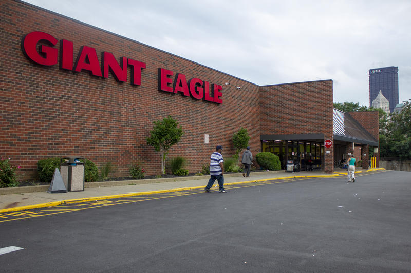 "The Cedar Avenue Giant Eagle on Pittsburgh's North Shore. This location likely used to be a Kroger, as it has the distinctive sloped glass roof ""greenhouse"" common among Kroger stores built in the 1980s."