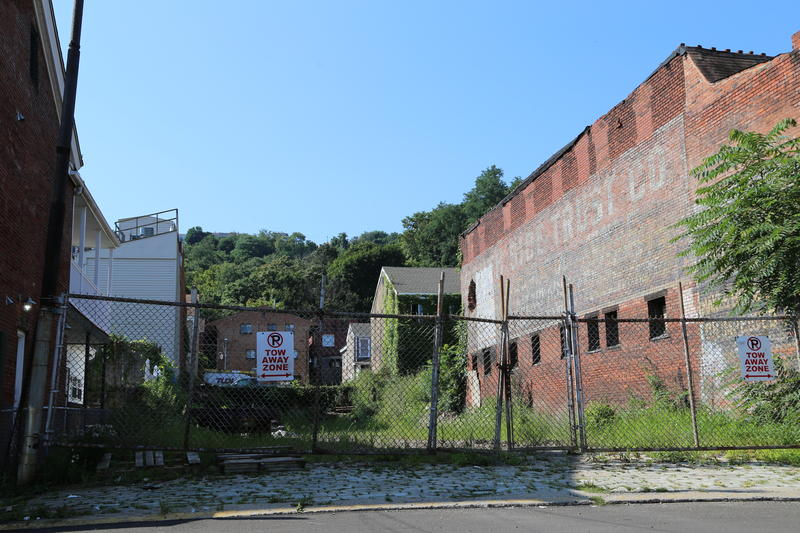 The view from Bradish Street on the South Side Flats showing the location of the lower station of the Knoxville Incline.
