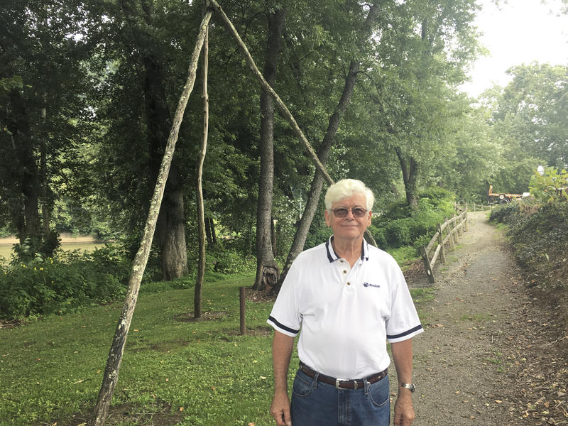 Jack Maguire of Saltsburg helped build this replica of a spring pole drill along the confluence of the Conemaugh and Kiskiminetas rivers.