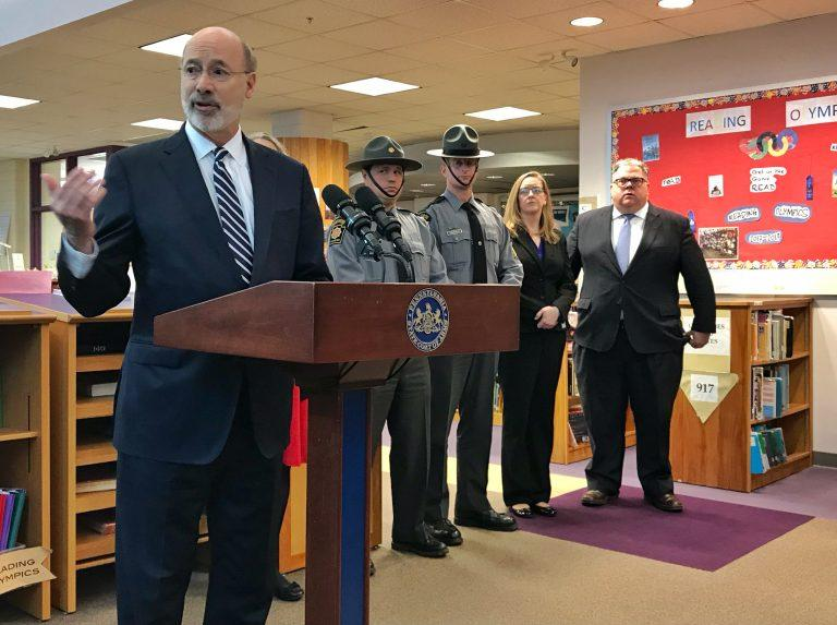 Gov. Tom Wolf announcing the creation of a new School Safety Task Force in Montgomery County in March 2018.