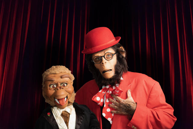 Bob Rumba dons Planet of the Apes makeup for his ventriloquism show