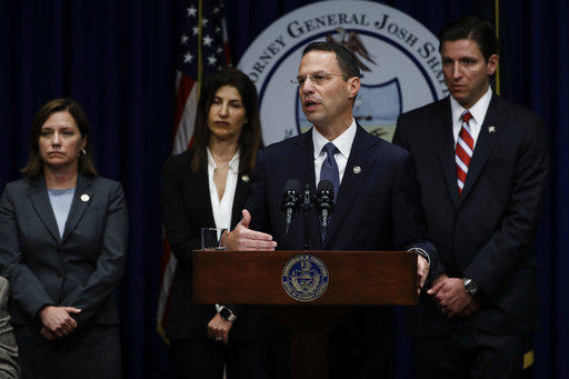 Pennsylvania Attorney General Josh Shapiro speaking at a news conference at the Pennsylvania Capitol in Harrisburg, Pa., Tuesday, Aug. 14, 2018.