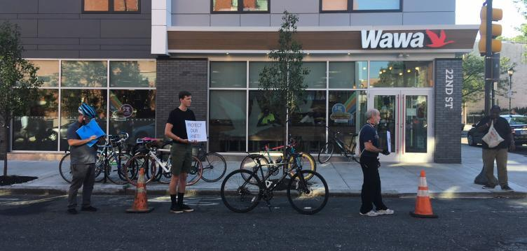 Customers often park in the bike lane at the Wawa on 22nd Street in Philadelphia, which promted this protest.
