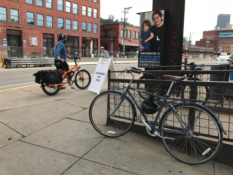 People arriving to Wednesday night's public meeting by bike had to go searching for parking. Cyclists are calling for a safe, easy connection between downtown and points east via the Strip District.