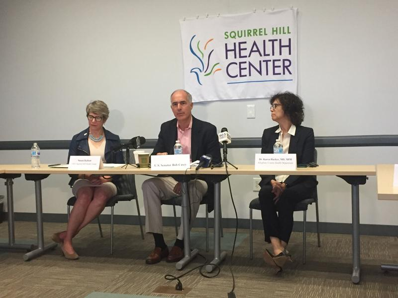 U.S. Senator Bob Casey spoke with health care professionals and Allegheny County Health Director Karen Hacker in Brentwood on Wednesday, August 8, 2018.