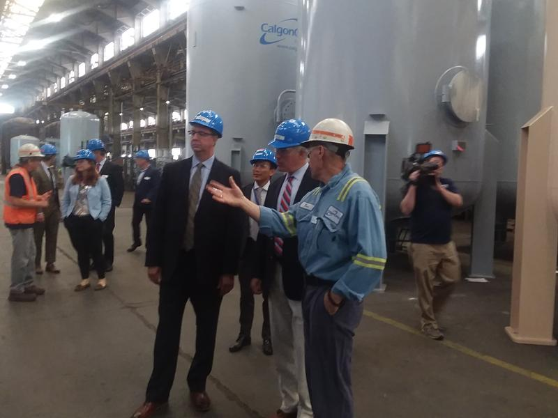 Sen. Bob Casey on a tour of the Calgon Carbon plant on Neville Island