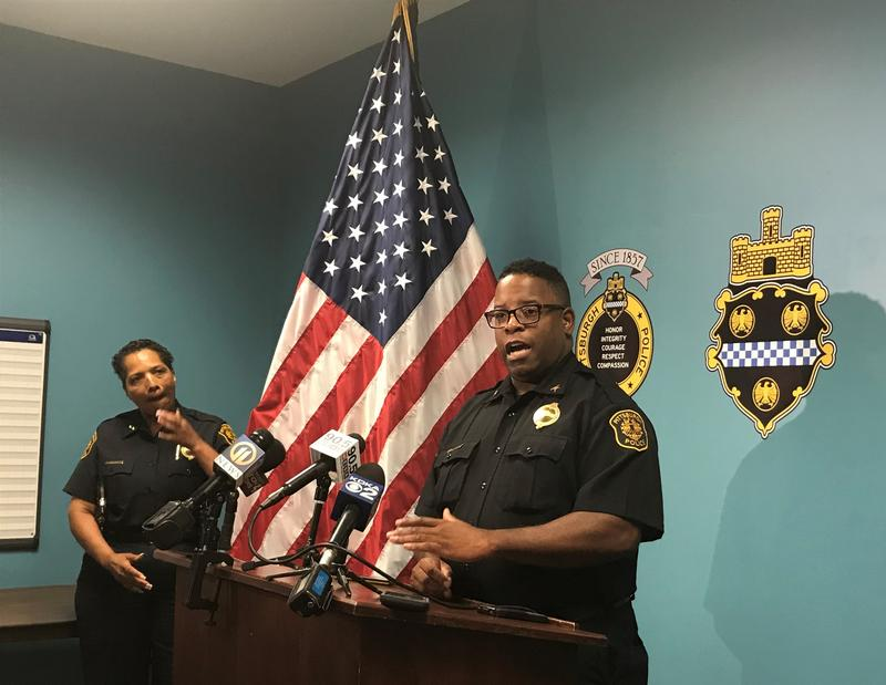 Pittsburgh Police Commander Eric Holmes speaks to the press about a weekend incident involving activists Leon Ford at a news conference on Monday, Aug. 27, 2018.