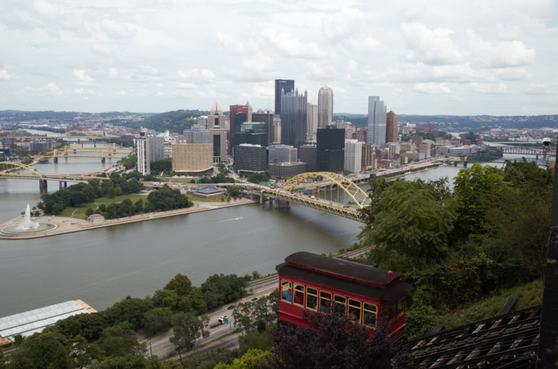 The view from an overlook near the Duquesne Incline on Pittsburgh's Mount Washington. The Duquesne is one of two remaining funiculars in a city that used to be known for them.
