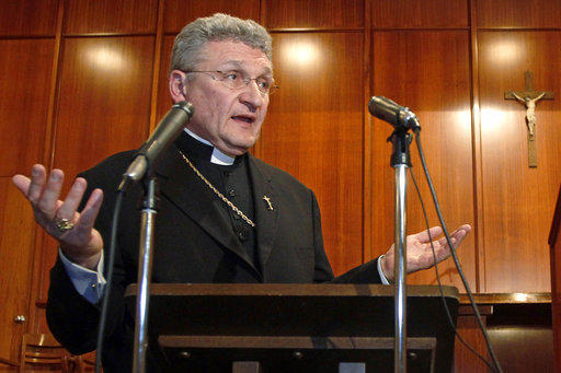 In This Oct. 15, 2011 file photo, Bishop David Zubik answers questions during a news conference in Pittsburgh.