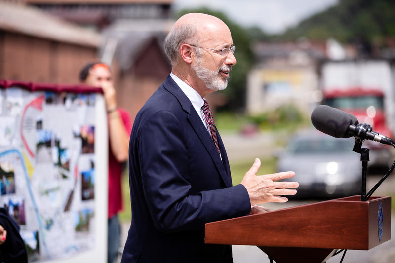 Pennsylvania Gov. Tom Wolf speaks to a crowd in Johnstown, Pa. in August 2018.