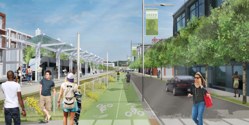 In 2013, Pittsburgh presented a community-driven plan to reimagine the Allegheny riverfront from Downtown to the Highland Park. It included a multi-use trail and a light rail line.