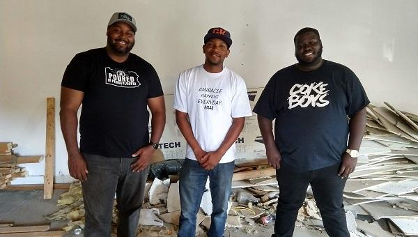 "Shaun Harris, Tim White and Jerry ""JT"" Thomas stand in what will become the Harris Family Brewery pub on Market Street in Harrisburg July 20, 2018."