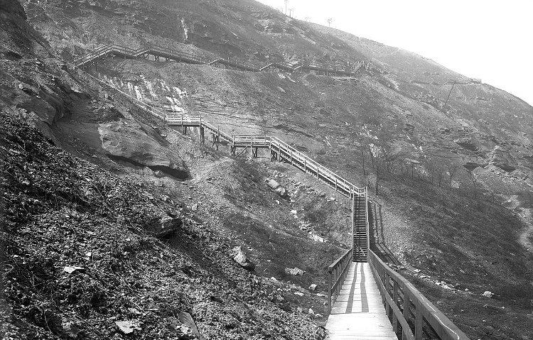 The Indian Trail Steps on March 25, 1911. The pathway led Pittsburghers from West Carson Street to the top of Mount Washington, but it took a long time to climb the stairs. The journey was about half a mile mostly uphill.