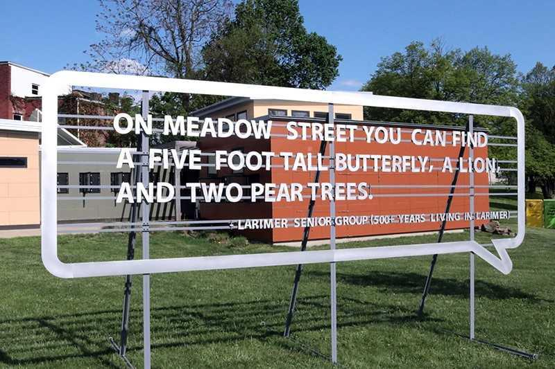 Local seniors supply the text for this public artwork in Larimer