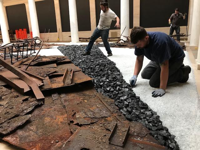 """Museum workers help complete """"Through Smoke and Tangled Waters."""""""