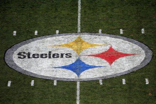 This is the Pittsburgh Steelers logo in the 50 yard line of Heinz Field on Sunday, Sept. 20, 2015.