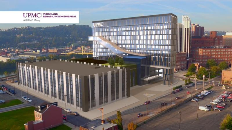 A rendering of an expanded UPMC Mercy Hospital in Uptown.