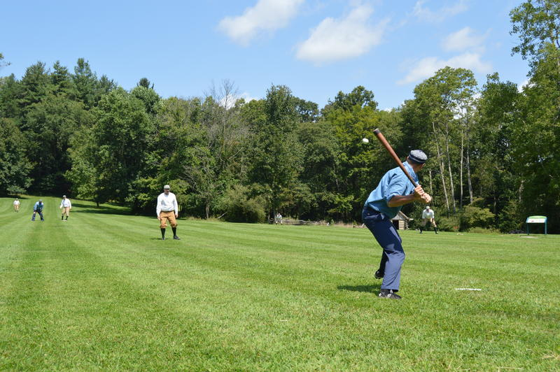 Games of vintage baseball at Meadowcroft Rockshelter and Historic Village are played with 1860s rules.