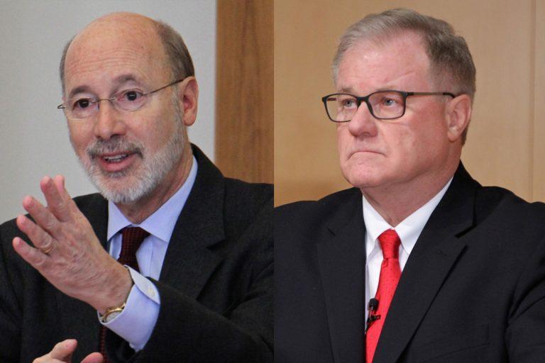 Gov. Tom Wolf, left, and Scott Wagner, right.
