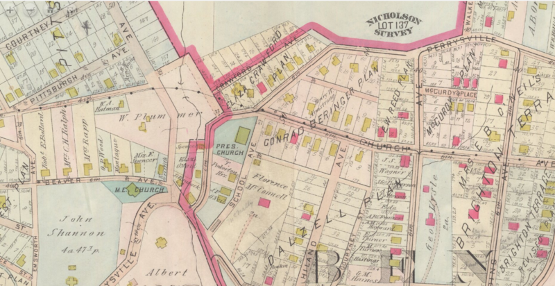 A 1906 Hopkins map of Ben Avon borough showing the extension of Church Avenue and the trolley line to Emsworth. Two homes at the intersection of Church and Perrysville avenues had to be moved further from the curb to make room for the rail lines.