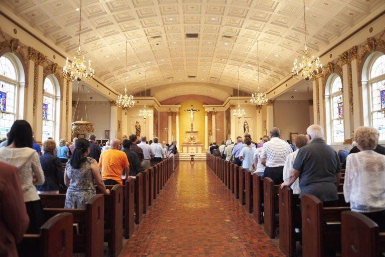 Parishioners attend mass the Cathedral Church of St. Catharine of Siena in Allentown, Pa.