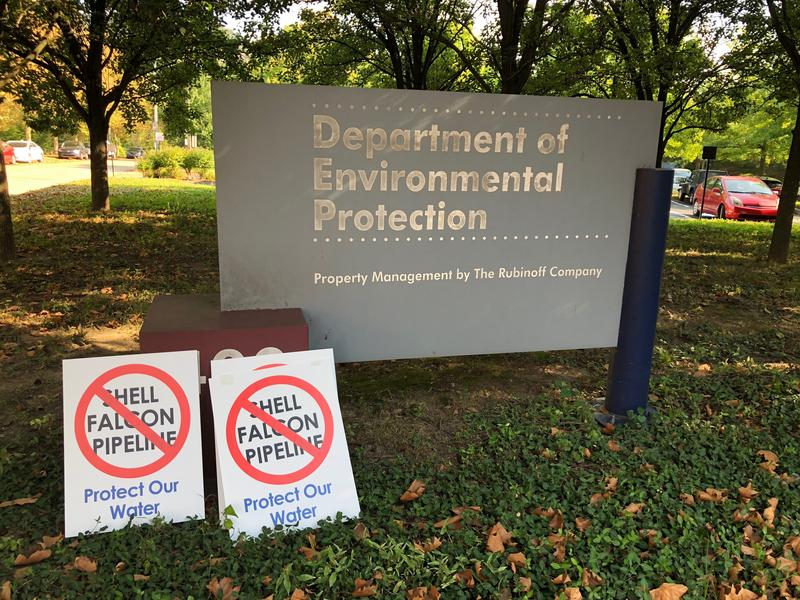 Outside the Department of Environmental Protection on Herrs Island in Pittsburgh on Thursday, Sept. 6, 2018.