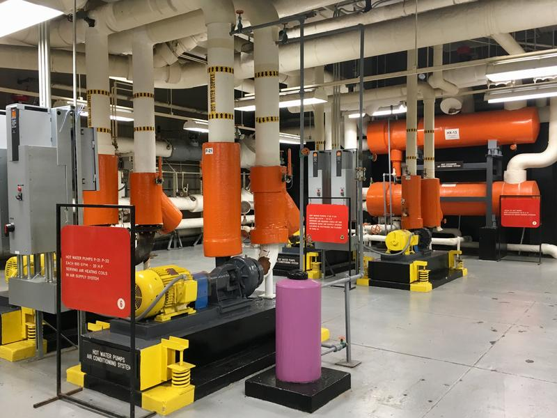 Hot water pumps are connected to the U.S. Steel Tower's air conditioning system. The building has experienced a 40 percent drop in water and electricity usage since 2010 thanks to energy effiency efforts.