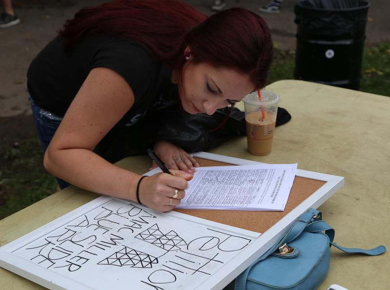 Attendees were encouraged to sign a petition to change this section of Frick Park to Mac Miller Blue Slide Park.