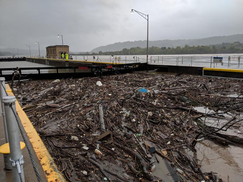 The Dashields Locks and Dam holds back debris that collected here on the Ohio River following Tropical Storm Gordon, which dropped more than 5 inches of rain across southwestern Pennsylvania last weekend.