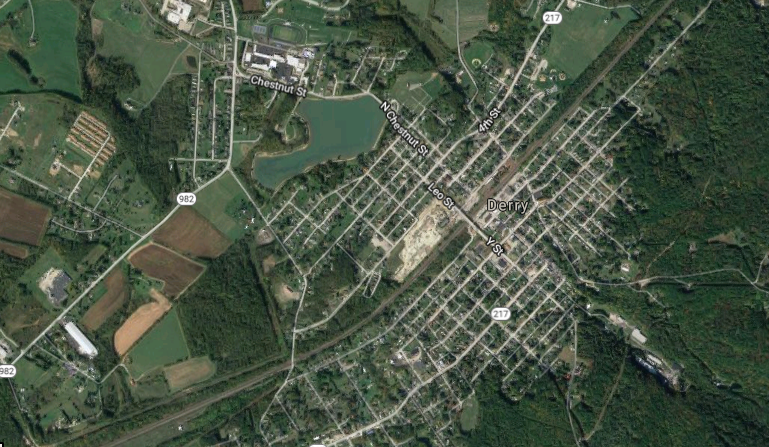 A satellite view of Derry Borough in Westmoreland County.