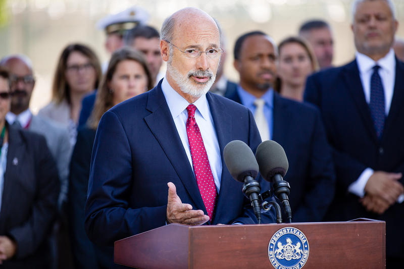 Governor Tom Wolf meets with correctinos officers to discuss safety concerns and announce new protocols at a press conference on Sept. 5, 2018.