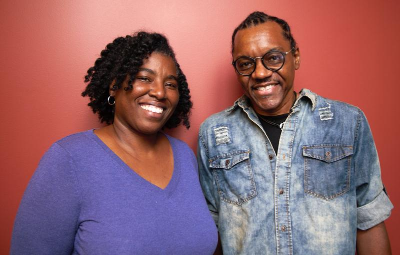 Sonya Tilghman, left, and Rev. Tim Smith, stand outside the 90.5 WESA studio on Monday, Sept. 10, 2018.