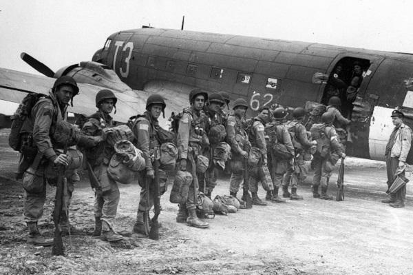 "Allied paratroopers entering one of the huge transports before taking off on the assault on German occupied Holland during ""Operation Market Garden"" Sept. 17, 1944."