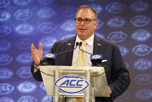 Pittsburgh head coach Pat Narduzzi answers a question during a news conference at the NCAA Atlantic Coast Conference college football media day in Charlotte, N.C., Wednesday, July 18, 2018.
