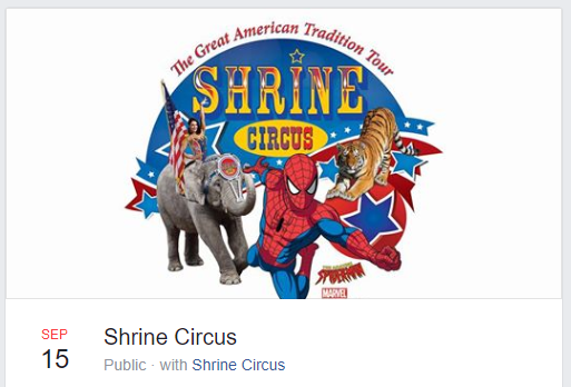 A screengrab of the Shrine Circus' event on Facebook.
