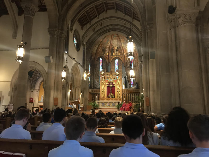 Students at St. Bernard School in Mt. Lebanon  attend the first mass of the school year.