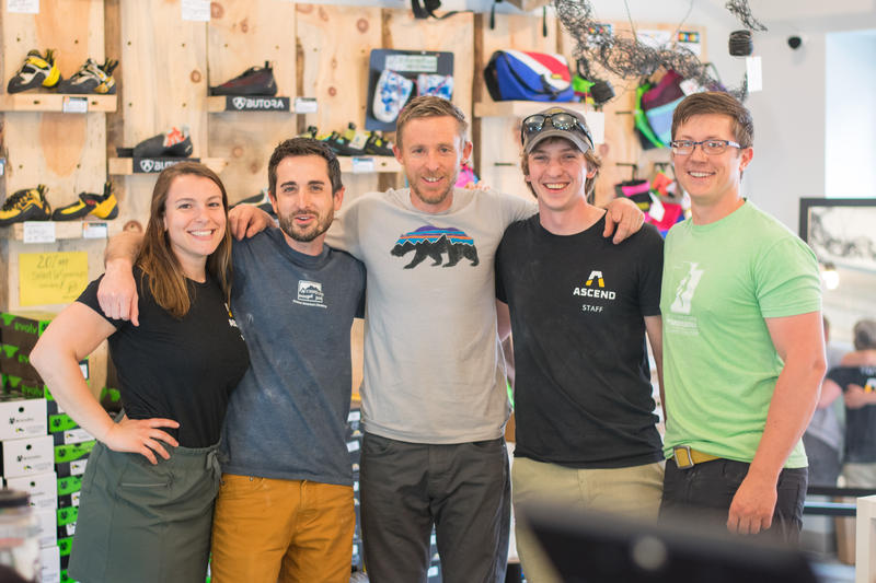 Professional climber and author Tommy Caldwell poses with employees and owners of the Pittsburgh-based climbing gym Ascend ahead of a book tour event on Tuesday, May 22, 2018.