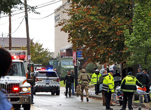 First responders surround the Tree of Life Synagogue in Squirrel Hill, where a shooter opened fire on Saturday, Oct. 27, 2018.