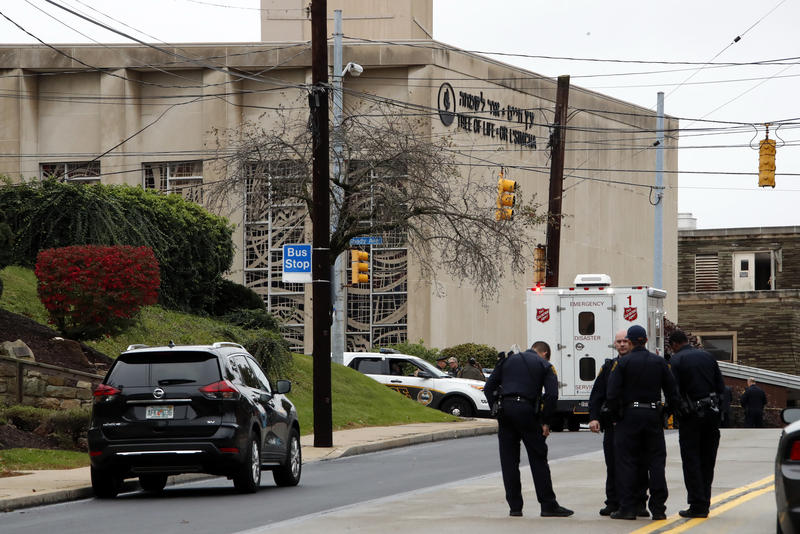 First responders at the seen of a shooting at Tree of Life Synagogue in Squirrel Hill on Saturday, Oct. 27, 2018.