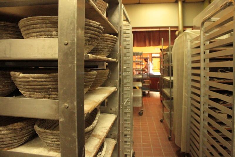 Racks and bread forms stand ready for the oven at Allegro Hearth Bakery in Squirrel Hill.