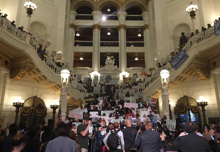 Hundreds rallied in the Capitol Rotunda Tuesday in support of ending mandatory life sentences.