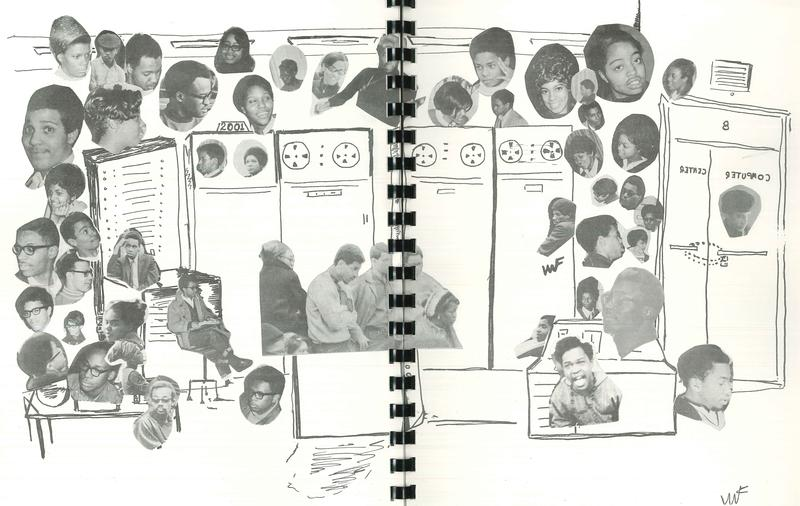 A sketch of the Black Action Society's 1969 takeover of the University of Pittsburgh's computer center representing the people who negotiated for better representation at the school.